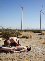 Hairless blond boy Derrick goes out to the desert with well hung young stud Blake Carnage