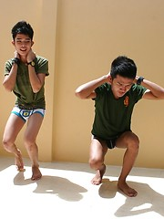 Thai Twink Fucking Threesome in 'Military Students Gone Gay'