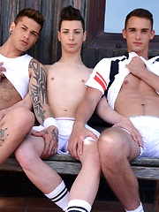 Two Hot Tennis Studs Give Their Buddy A Stiff Spit-Roasting & A Face-Load Of Hot Spunk!