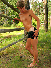 Russian twink posing naked outdoors and jacking off